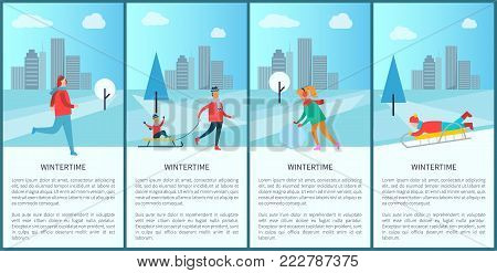 Wintertime activities of people, given text sample and cityscape, child on sled, woman with snowball, running man, isolated on vector illustration