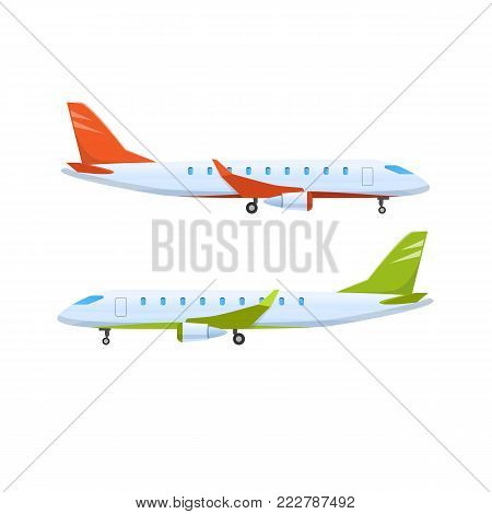 Modern passenger plane. Flying airplane, airliner. Logistics, transportation, delivery services, shipping. Global delivery logistics of air cargo trucking transportation. Vector illustration.