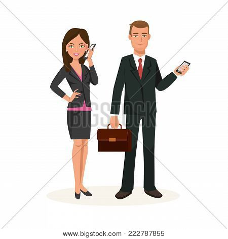 Business partners, colleagues, working cartoon character persons in office room. Workers in office clothes, office workers, talking on phone, communicating, decides questions. Vector illustration.