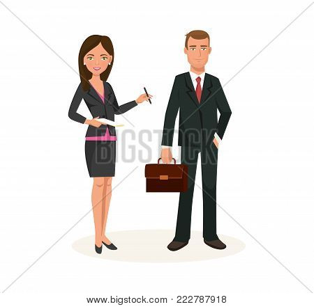 Business partners, colleagues, working cartoon character in office room. Workers in office clothes, office workers, work with materials and projects together, decides questions. Vector illustration.
