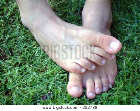 Mans Crossed Feet