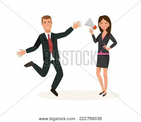Business workers cartoon character person. Office workers in office clothes, with speaker, conference, bring data, information to audience, engaged marketing and advertising. Vector illustration.