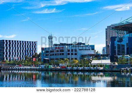 Melbourne, Australia - December 7, 2016: NewQuay cityscape with Channel Seven Melbourne television station building