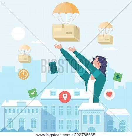 Parcels flying down. Delivery service concept. Vector illustration