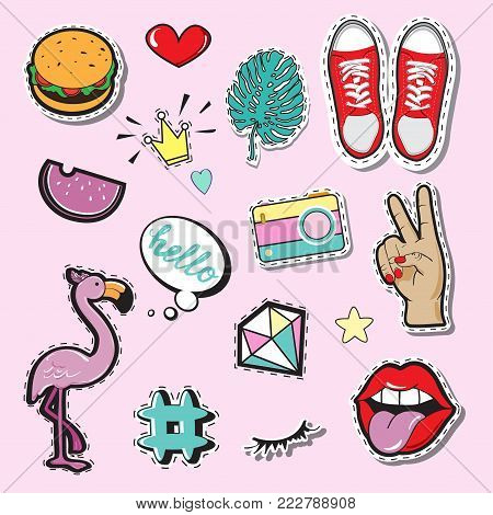 Fashion Patch Badges with lips, hands and eyes. Pop art elements on a pink background