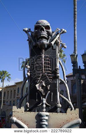 Orlando, Florida, Usa - November 3:skeleton Pedestal At Rodeo Drive Universal Studios .  Taken Novem