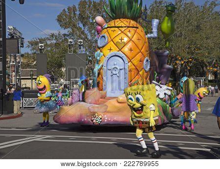Orlando, Florida, Usa - November 3: Sponge Bob Charachters At Universal Studios Orlando Florida.  Ta