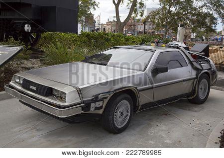 Orlando, Florida, Usa - November 3:the  Back To The Future Delorean Dmc-12 Car At Universal Studios.