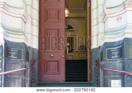Melbourne, Australia - December 7, 2016: Melbourne Supreme court Court of Appeal building entrance with open doors