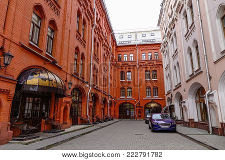 Moscow, Russia - Oct 16, 2016. Old buildings located in Moscow, Russia. Moscow is the capital and most populous city of Russia, with 12.2 million residents.