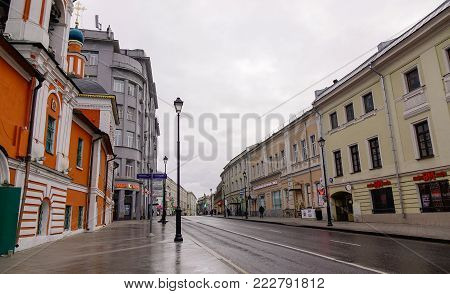 Moscow, Russia - Oct 16, 2016. Old street with buildings in Moscow, Russia. Moscow is the capital and most populous city of Russia, with 12.2 million residents.