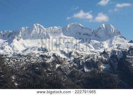 View of the mount Canin on the border between Italy and Slovenia