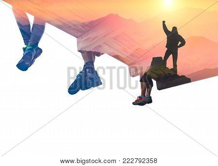 Double exposure photography with hiker on a cliff and group of hikers above the mountain valley. Mixed media.