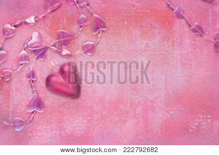 Coral red grunge background with hearts. Modern invitation for decoration design. Heart love background. Colorful grunge background. Old grunge background. Grunge love poster.