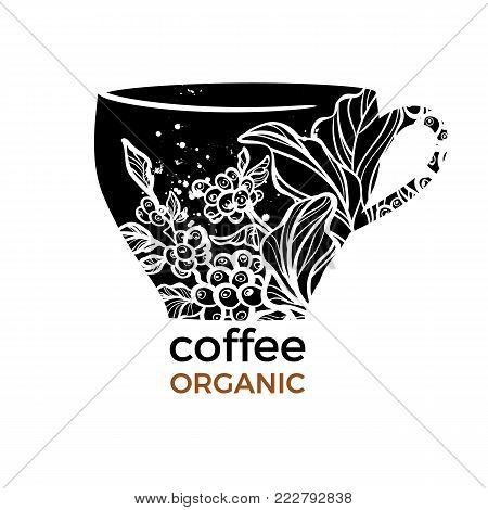 Vector template with black shape of cup and coffee branch, beans, leaves, flowers on white background. Symbol realistic nature design. Floral art line logo. Trendy symbol design Organic sticker Text