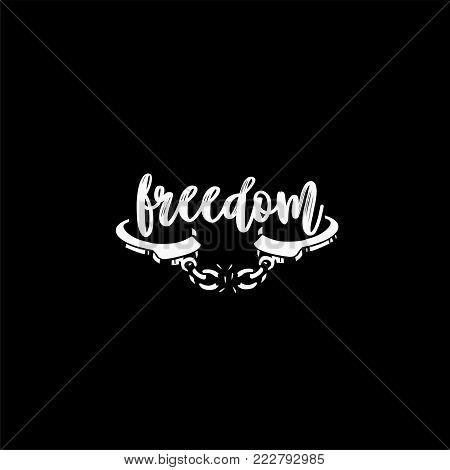 Freedom broken chain handcuff sketch, vector illustration