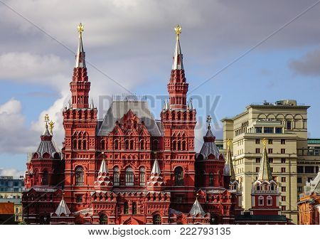 Moscow, Russia - Oct 16, 2016. Old buildings on Red Square in Moscow, Russia. Red Square remains, as it has been for centuries, the heart and soul of Russia.