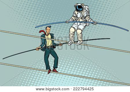 tightrope walkers acrobats businessman and astronaut. Pop art retro vector illustration.