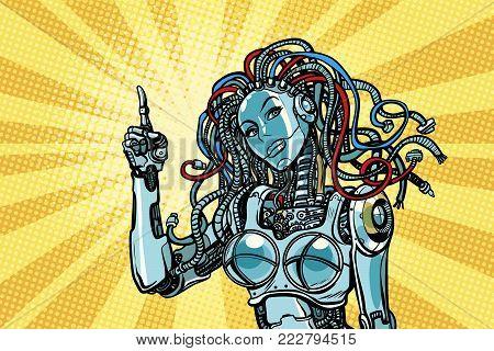 female robot indicates. Pop art retro vector illustration