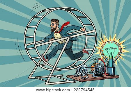 Hipster businessman produces electricity, power generator. Pop art retro comic book vector illustration
