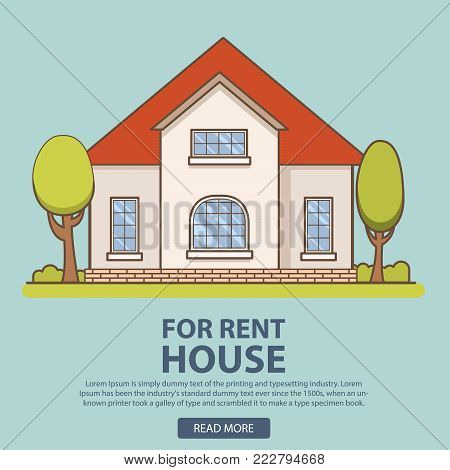 House for rent. Rent of a country private cottage.Buy suburban buildings.Concept for real estate firms for the websites, a banner.purchase home.landscape with the brick house and trees vector flat.