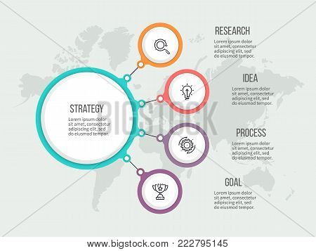 Business hierarchy infographic. Organization chart, diagram with 4 options. Vector template.