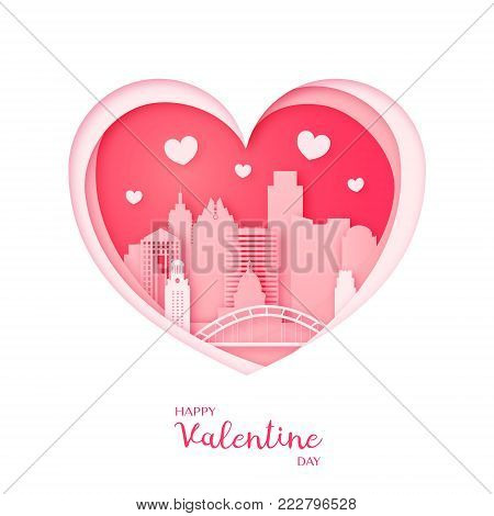 Valentines card. Paper cut heart and the city Austin. Happy Valentine day. Vector illustration.
