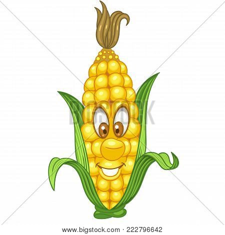Cartoon Corn character. Sweetcorn cob. Happy Vegetable symbol. Eco Food icon. Design element for kids coloring book, colouring page, t-shirt print, logo, label, patch or sticker.