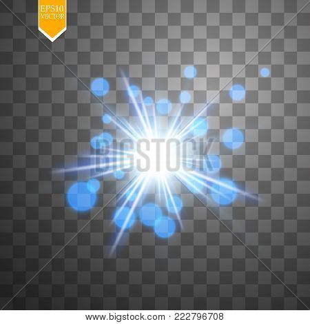 Light digital star on the transparent background. Vector.