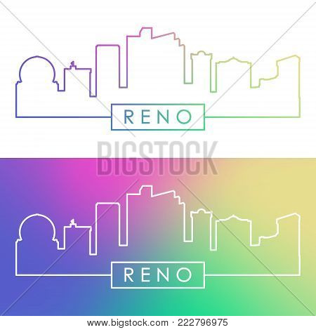 Reno skyline. Colorful linear style. Editable vector file.