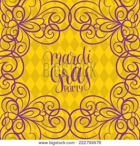 Mardi Gras vector hand lettering greeting card. Fat or Shrove Tuesday poster, invitation flyer etc. with ornate pattern. Festive carnival background.