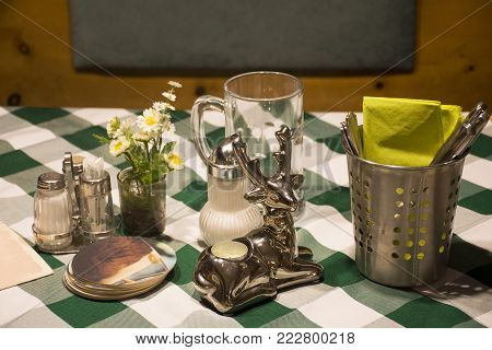 Dining accessories for eat on table in dining room at restaurant in Tirol region of the Austrian