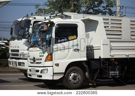 CHIANG MAI, THAILAND -JANUARY 8 2018: Private Hino Dump Truck. On road no.1001 8 km from Chiangmai Business Area.