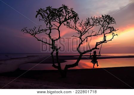 Silhouette lonely tree and girl with cradle on the beach with sunset background.