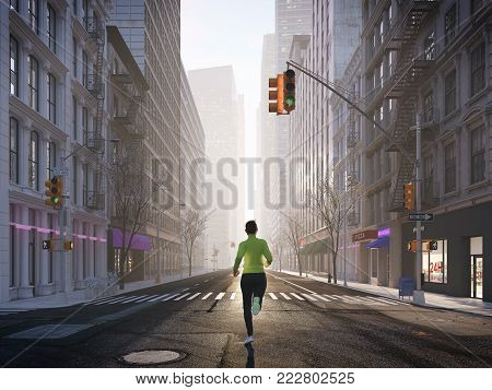 3d rendering. young woman jogging alone in the streets of city.