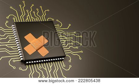 Computer Processor with Patch with Copyspace 3D Illustration, Security Concept
