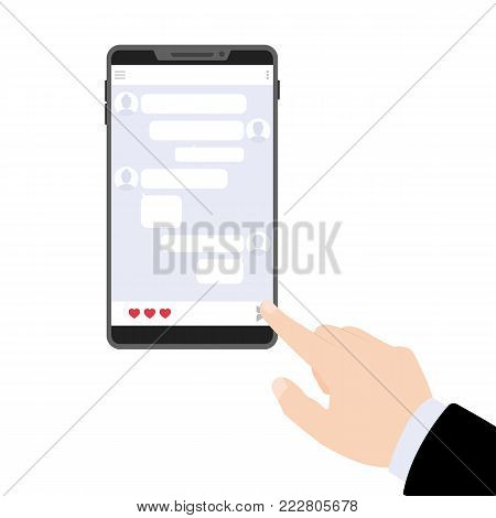 Lover texting. Send a confession of love. Phone with hearts . Vector flat illustration.