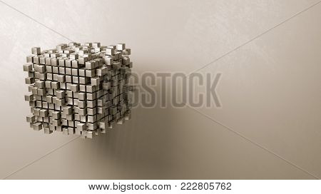 Cubes Aggregation on Grey Background with Copyspace 3D Illustration