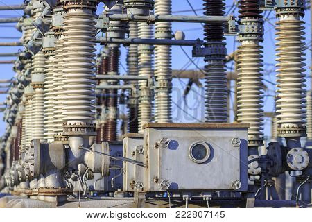 High-voltage equipment of the old electrical substation. Switchgear of powerful station. generating equipment
