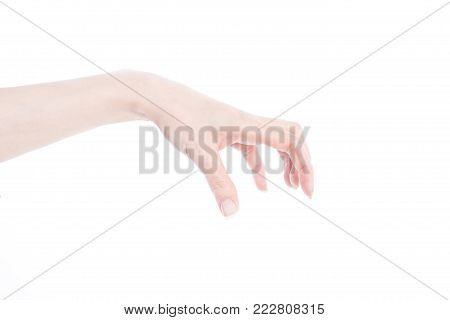 Woman's hand making gesture while grab some items isolated on white background
