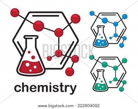 Chemical laboratory experimental vector icons isolated on white background