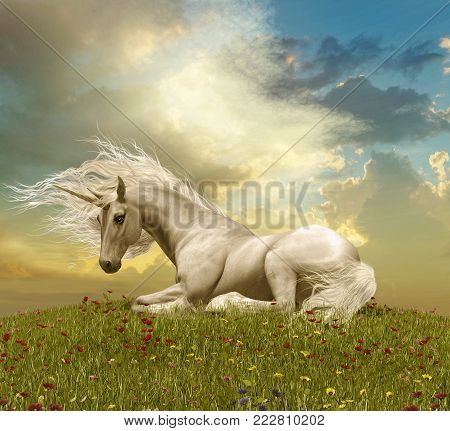 3D illustration of an enchanting white unicorn resting on a hill during a sunset