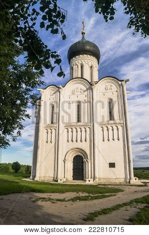 Russian ancient shrine. Orthodox Church of the Intercession on the Nerl River. Summer landscape. Vladimir region.