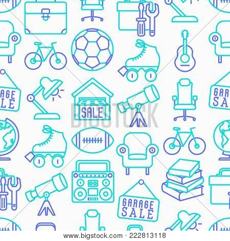 Garage sale seamless pattern with thin line icons: signboard, globe, telescope, guitar, rollers, armchair, toolbox, soccer ball. Modern vector illustration.