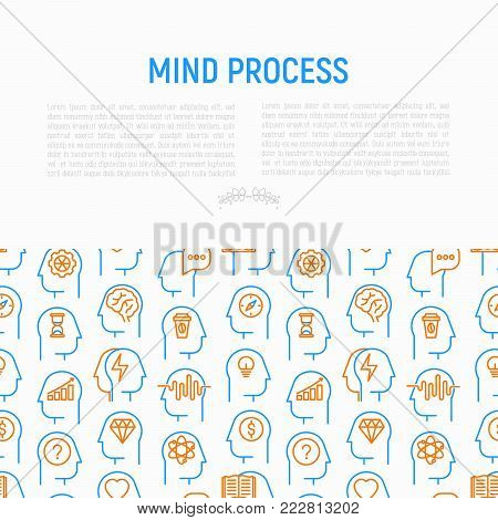 Mind process concept with thin line icons: intelligence, passion, conflict, innovation, time management, exploration, education, logical thinking. Modern vector illustration for web page template.