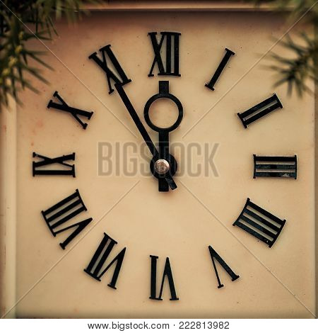 Ancient the hours showing 12 hours. New Year's concept