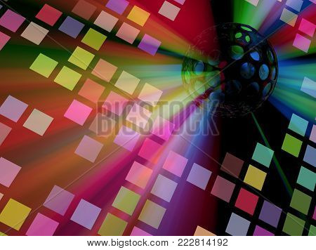 Color range strobe light ball disco floor squares 3d illustration, horizontal background