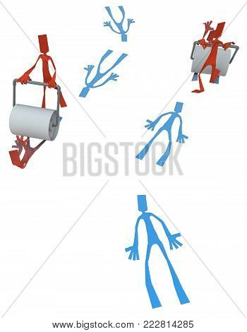 Paper man symbolic figures with road roller flattening others, 3d illustration, vertical, isolated