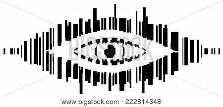 Bar code spy eye symbol stylized stencil black, vector illustration, horizontal, isolated, over white
