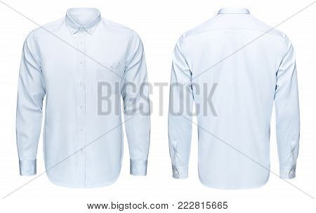 Business or classic blue shirt, front and back view, isolated on white background with clipping path.